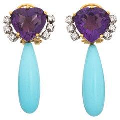 Persian Turquoise Amethyst Diamond Earrings Pendant Drops Vintage 18 Karat Gold