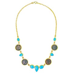 Persian Turquoise and Ancient Roman Bronze Coin 22 Karat Gold Collar Necklace