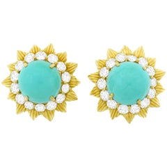 Persian Turquoise and Diamond Set Gold Earrings