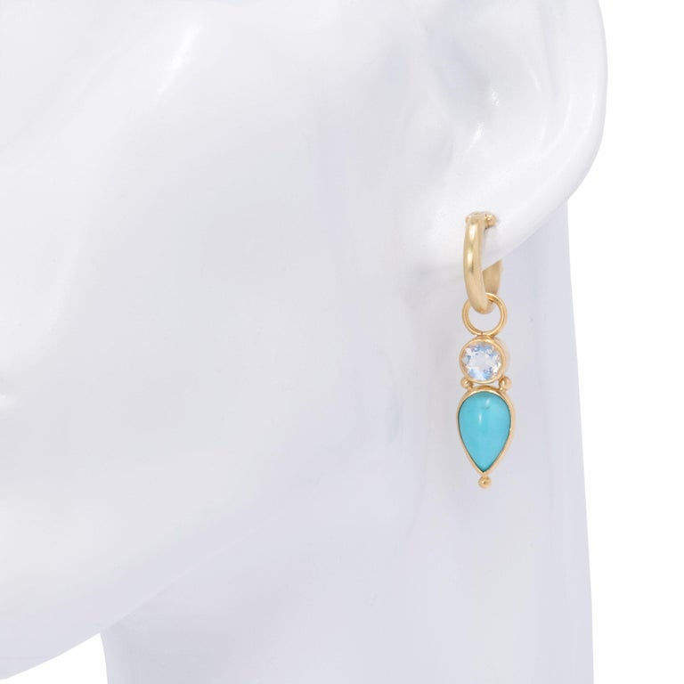 Contemporary Persian Turquoise and Moonstone Drop Earrings in 18 Karat Gold For Sale
