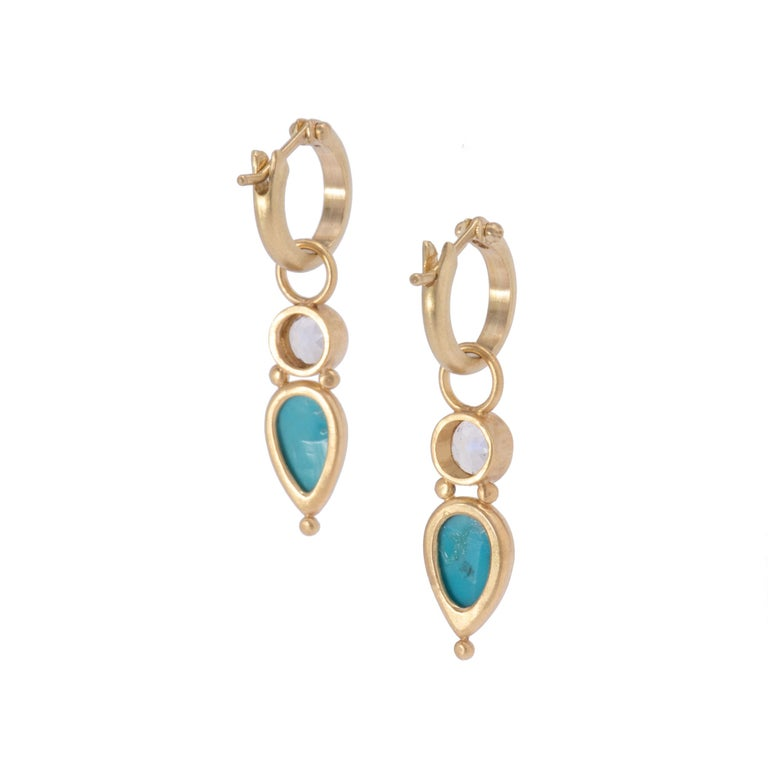 Women's or Men's Persian Turquoise and Moonstone Drop Earrings in 18 Karat Gold For Sale