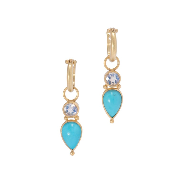 Persian Turquoise and Moonstone Drop Earrings in 18 Karat Gold For Sale
