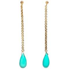 Persian Turquoise Dangle Earrings Gold Antique Pendant