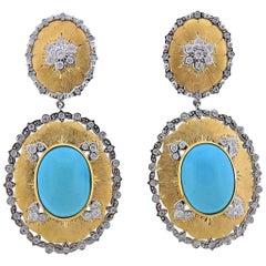 Persian Turquoise Diamond Gold Drop Earrings