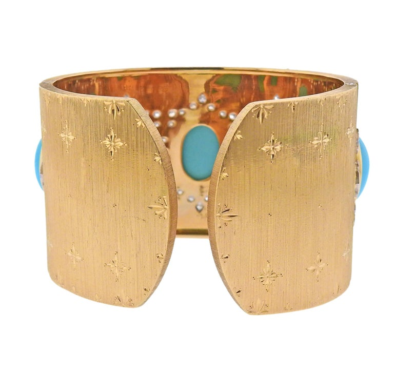 Round Cut Persian Turquoise Diamond Gold Wide Cuff Bracelet For Sale