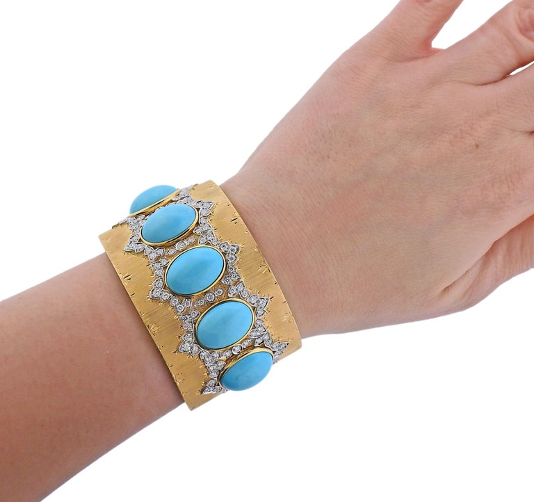 Persian Turquoise Diamond Gold Wide Cuff Bracelet For Sale 1