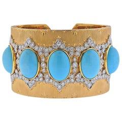 Persian Turquoise Diamond Gold Wide Cuff Bracelet