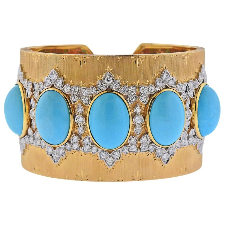 Persian Turquoise Diamond Gold Wide Cuff Bracelet For Sale