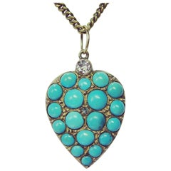 Persian Turquoise Diamond Heart Necklace Antique Gold Victorian