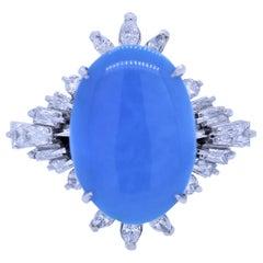 Persian Turquoise Diamond Platinum Cocktail Ring