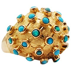Persian Turquoise Dome Ring 18 Karat Yellow Gold, circa 1970