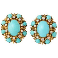 Persian Turquoise Earrings Diamonds Set in 18 Karat Yellow Gold, Clip Backs