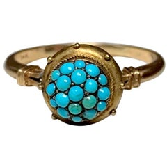 Persian Turquoise Etruscan Revival Ring Antique Victorian 14 Karat Rose Gold