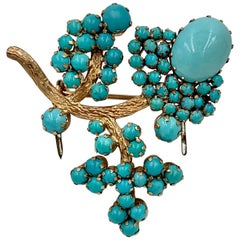 Persian Turquoise Flower Brooch Pin Gold Retro Mid-Century Modern