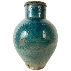 Persian Turquoise Glazed Storage Jar, Large Scale