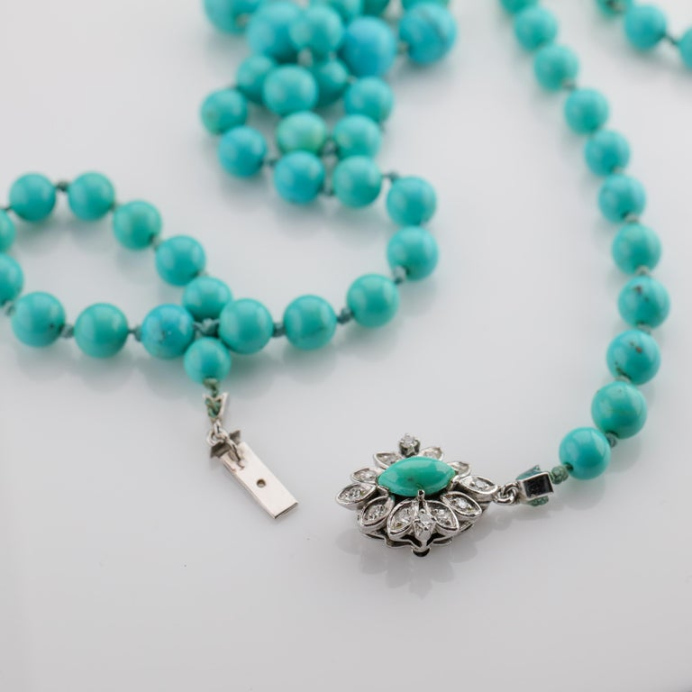 Persian Turquoise Necklace with Diamond Clasp circa 1950s Immaculate For Sale 5