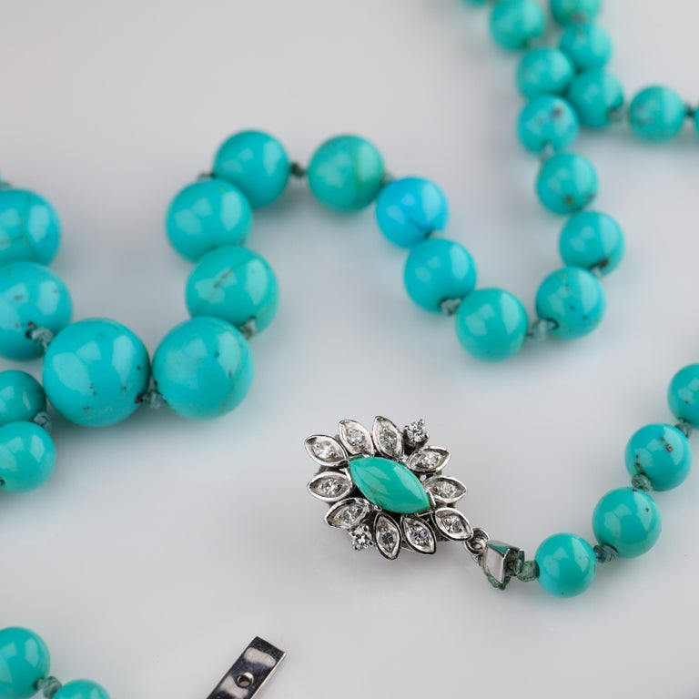 Persian Turquoise Necklace with Diamond Clasp circa 1950s Immaculate For Sale 6