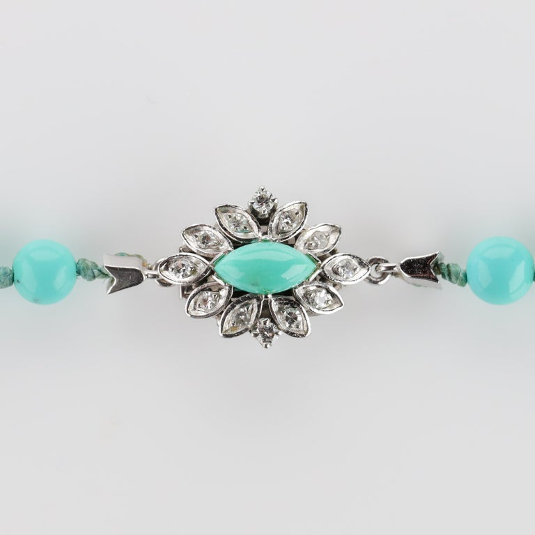 Persian Turquoise Necklace with Diamond Clasp circa 1950s Immaculate For Sale 7