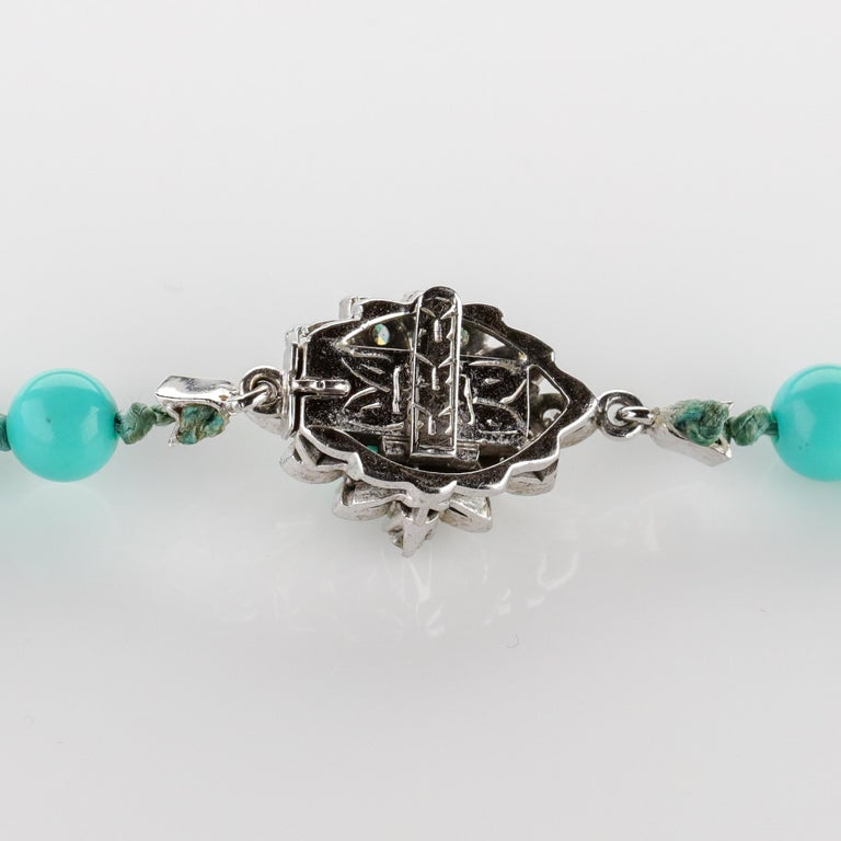 Persian Turquoise Necklace with Diamond Clasp circa 1950s Immaculate For Sale 8