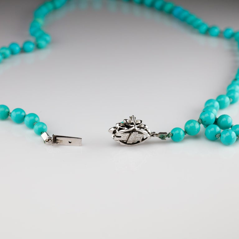 Persian Turquoise Necklace with Diamond Clasp circa 1950s Immaculate For Sale 10