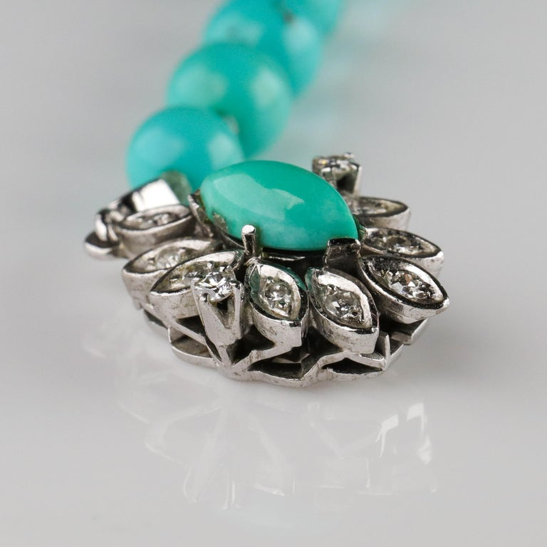 Persian Turquoise Necklace with Diamond Clasp circa 1950s Immaculate For Sale 11