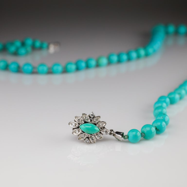 Persian Turquoise Necklace with Diamond Clasp circa 1950s Immaculate For Sale 12