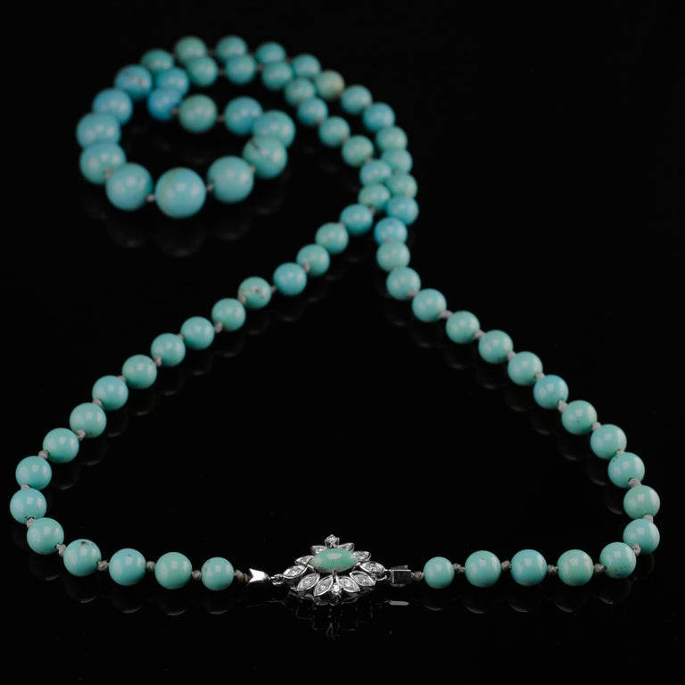 Persian Turquoise Necklace with Diamond Clasp circa 1950s Immaculate For Sale 13