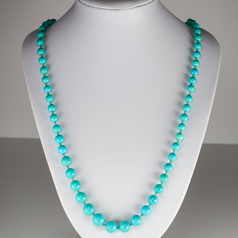 Modern Persian Turquoise Necklace with Diamond Clasp circa 1950s Immaculate For Sale