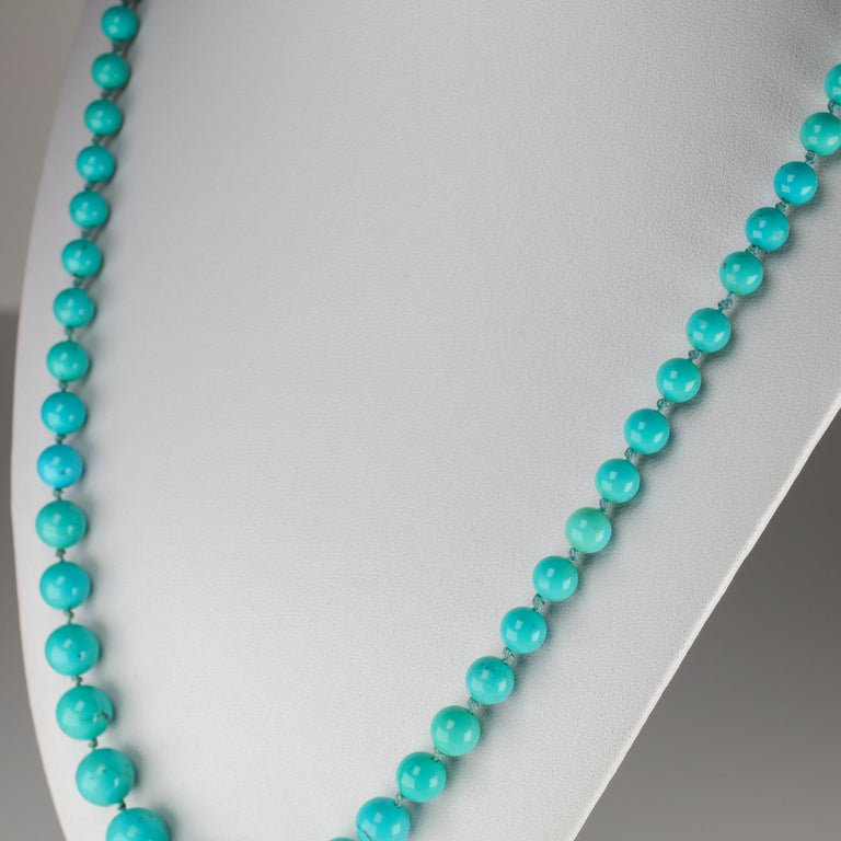 Persian Turquoise Necklace with Diamond Clasp circa 1950s Immaculate In Excellent Condition For Sale In Southbury, CT
