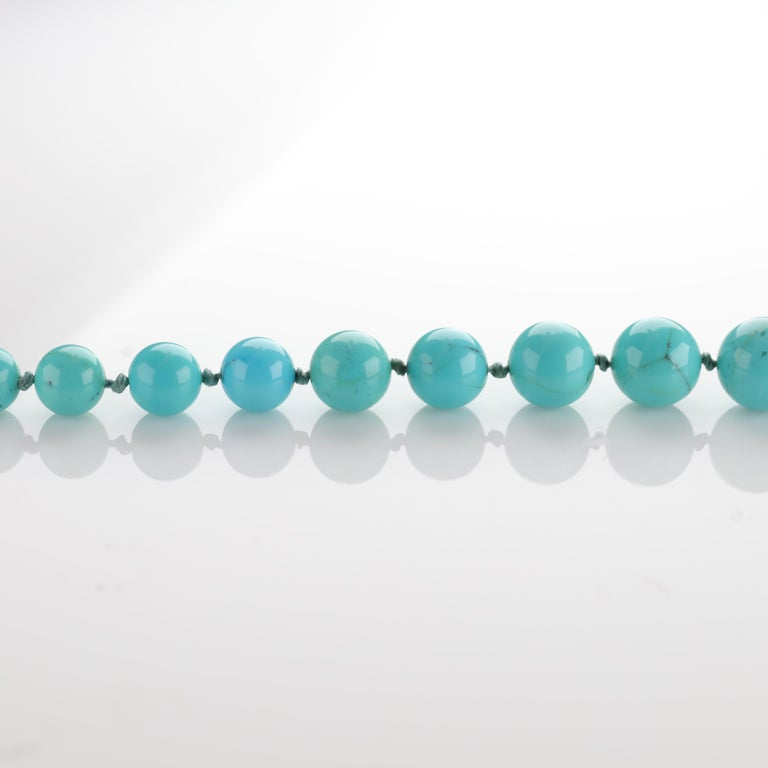 Women's or Men's Persian Turquoise Necklace with Diamond Clasp circa 1950s Immaculate For Sale