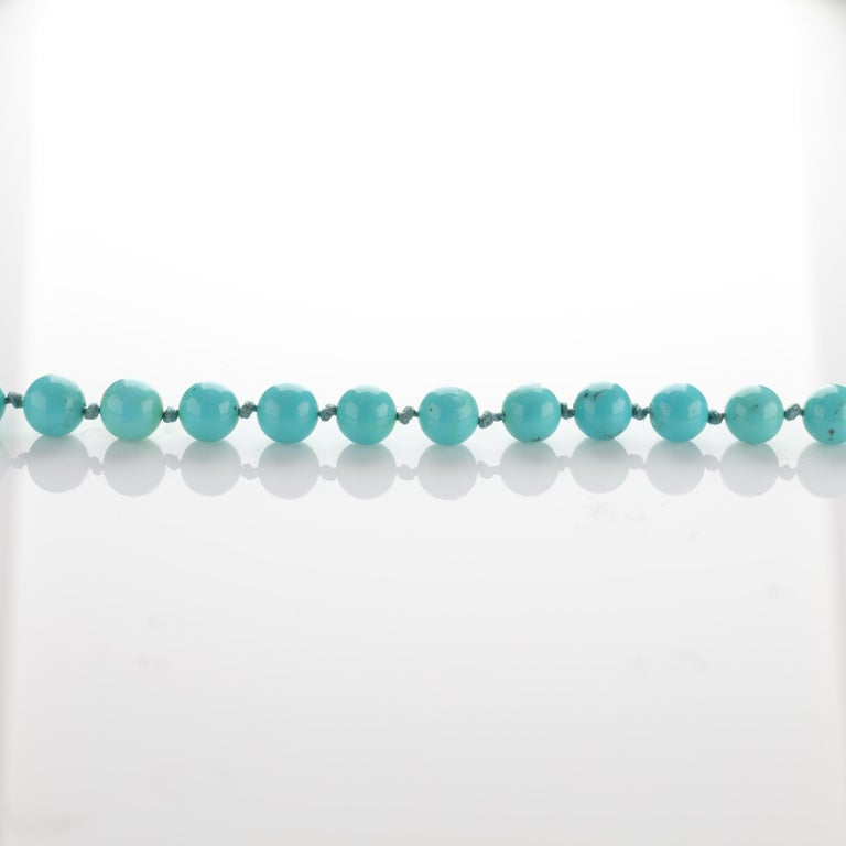 Persian Turquoise Necklace with Diamond Clasp circa 1950s Immaculate For Sale 1