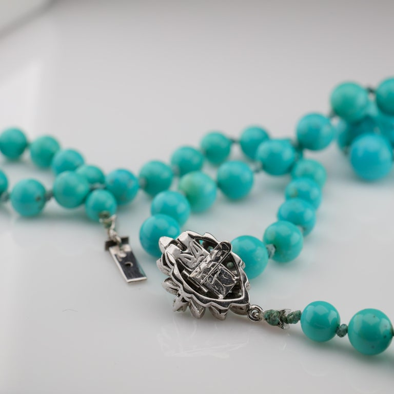 Persian Turquoise Necklace with Diamond Clasp circa 1950s Immaculate For Sale 2