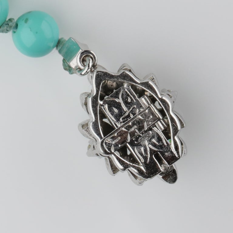 Persian Turquoise Necklace with Diamond Clasp circa 1950s Immaculate For Sale 3