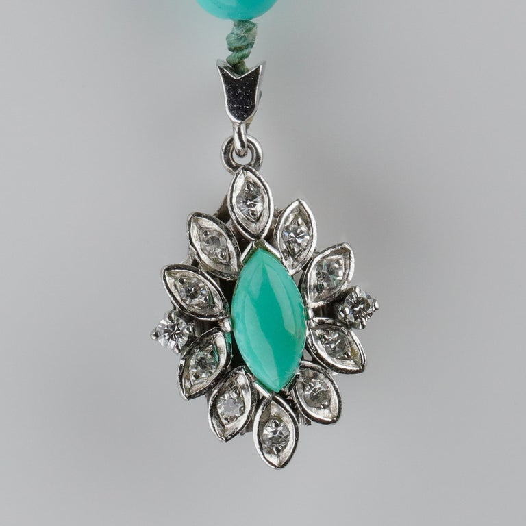 Persian Turquoise Necklace with Diamond Clasp circa 1950s Immaculate For Sale 4