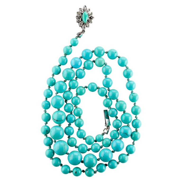 Persian Turquoise Necklace with Diamond Clasp circa 1950s Immaculate For Sale