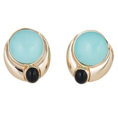 Persian Turquoise Onyx Earrings Vintage 14 Karat Yellow Gold Estate Fine Jewelry