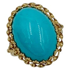 Persian Turquoise Ring Retro Cocktail 14 Karat Yellow Gold