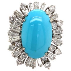 Persian Turquoise with Diamonds Vintage Ring 18 Karat White Gold