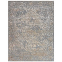 Persian Wool and Silk Rug, Jaleh Grey Lilac, Edition Bougainville