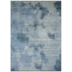 Persian Wool and Silk Rug, Kimia Grey Blue, Edition Bougainville