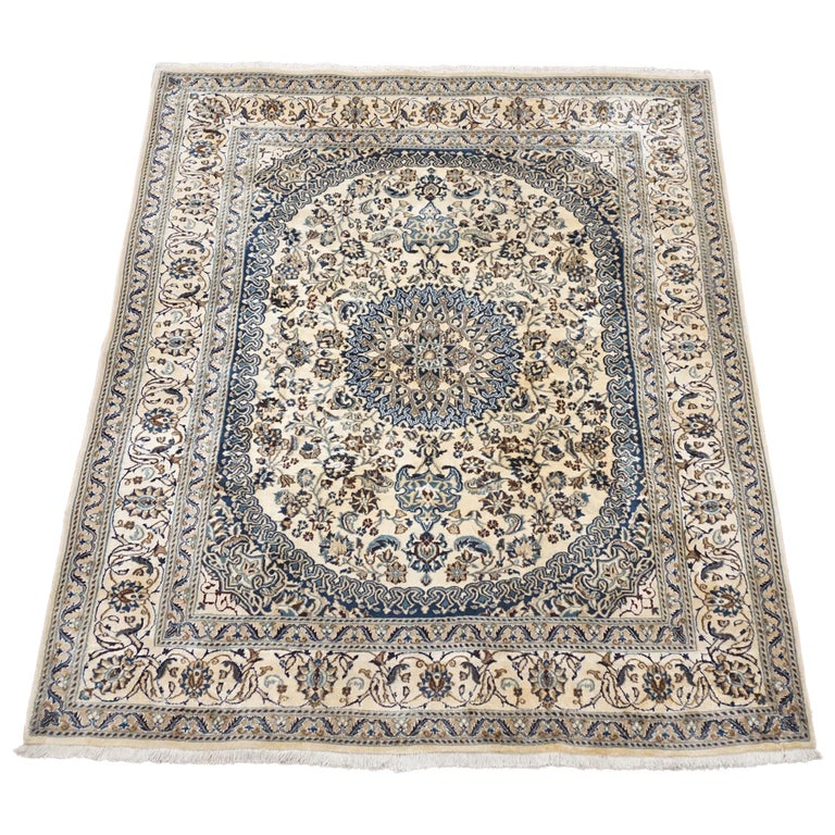 Ivory Wool And Silk Persian Naein Area Rug For Sale At 1stdibs: Persian Wool And Silk Naein, Circa 1990 For Sale At 1stdibs