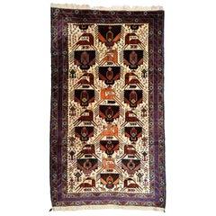 Persian Zabol Carpet circa 1940 in Handspun Wool and Vegetable Dyes