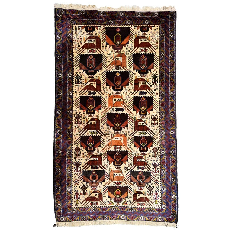 Persian Zabol Carpet circa 1940 in Handspun Wool and Vegetable Dyes For Sale