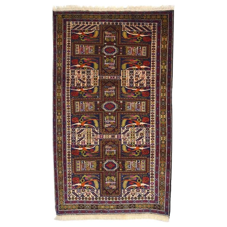 Persian Zabol Carpet circa 1940 in Handspun Wool and Vegetal Dyes For Sale