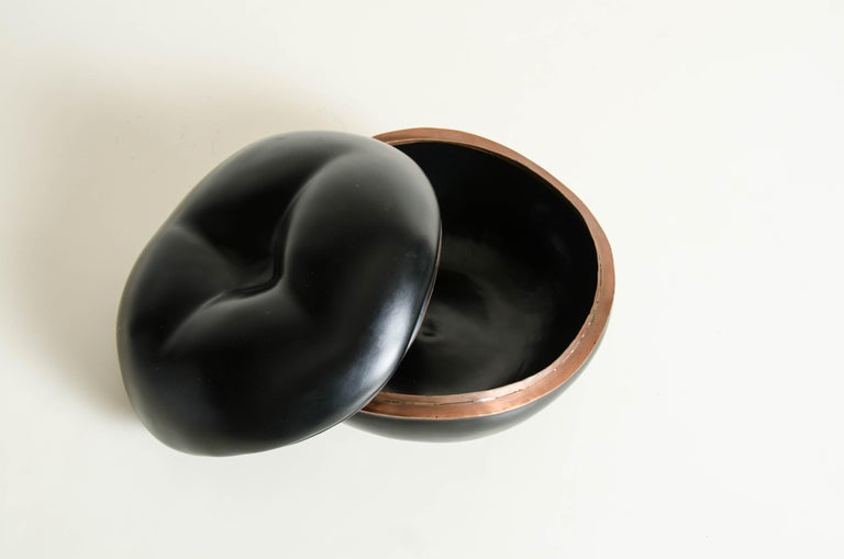 Lacquered Persimmon Box in Black Lacquer by Robert Kuo, Limited Edition For Sale