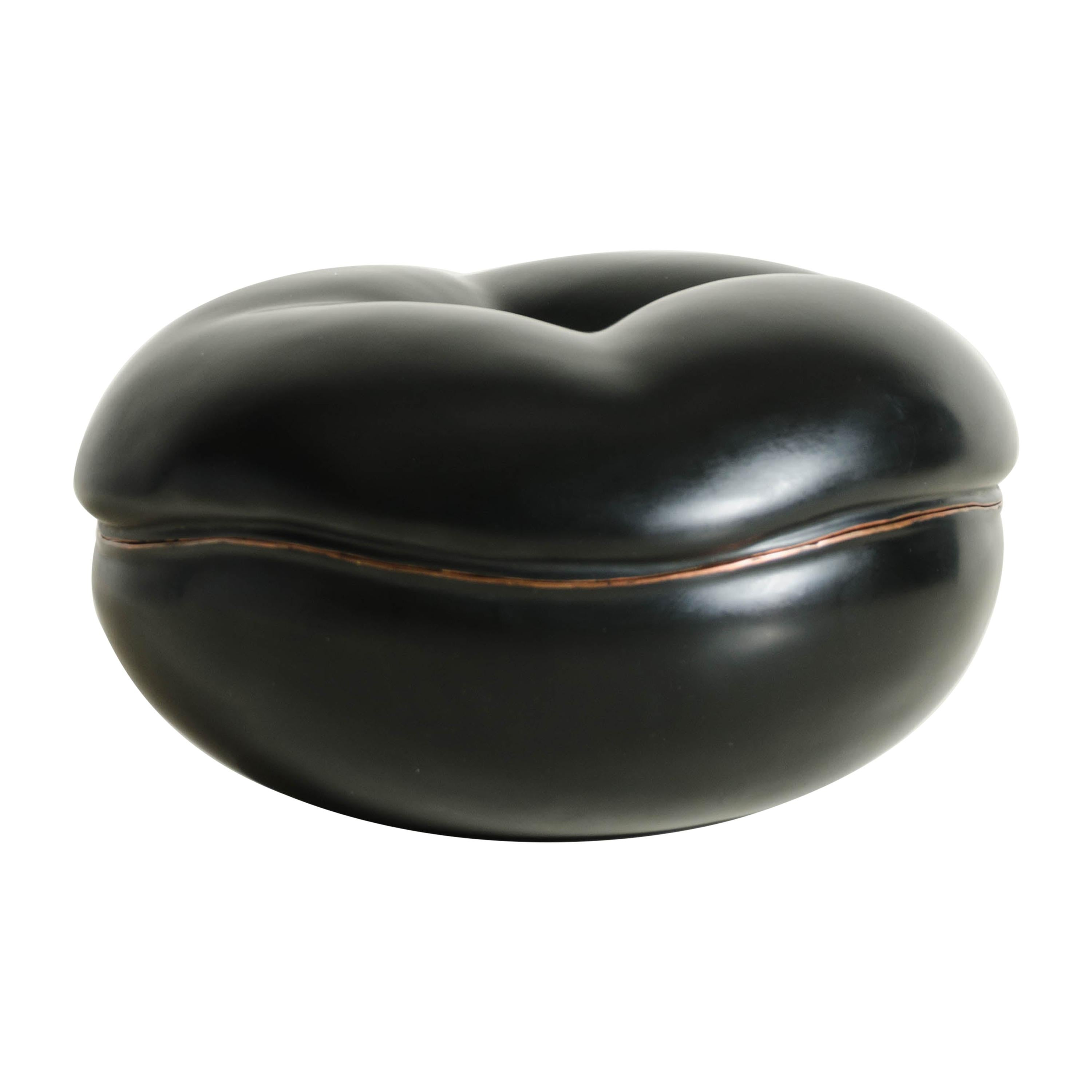 Persimmon Box in Black Lacquer by Robert Kuo, Limited Edition
