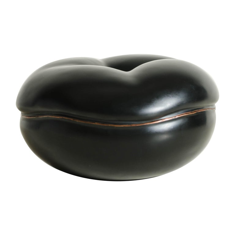 Persimmon Box in Black Lacquer by Robert Kuo, Limited Edition For Sale