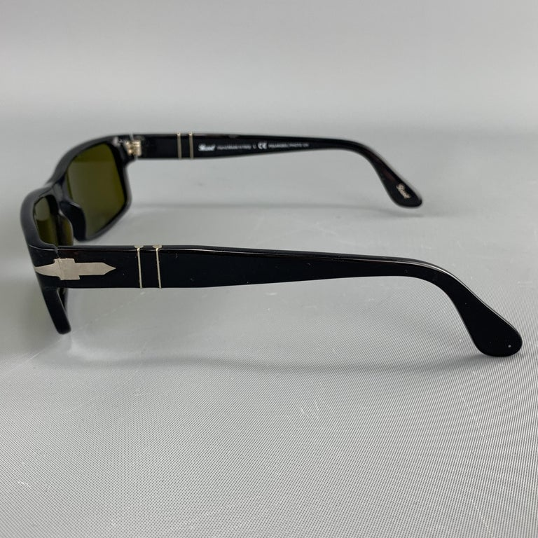 Men's PERSOL Black Acetate Green Lens Recatngle Sunglasses For Sale