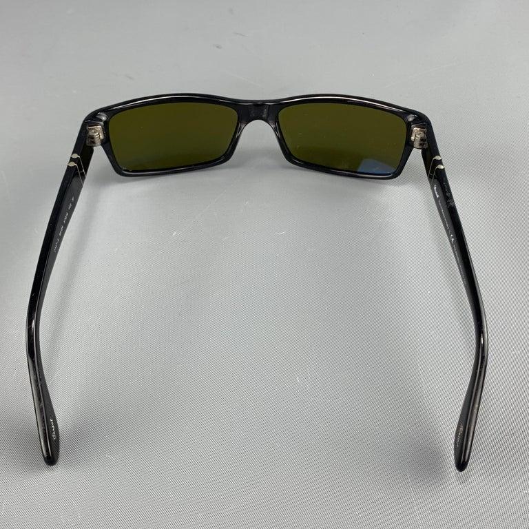 PERSOL Black Acetate Green Lens Recatngle Sunglasses For Sale 1