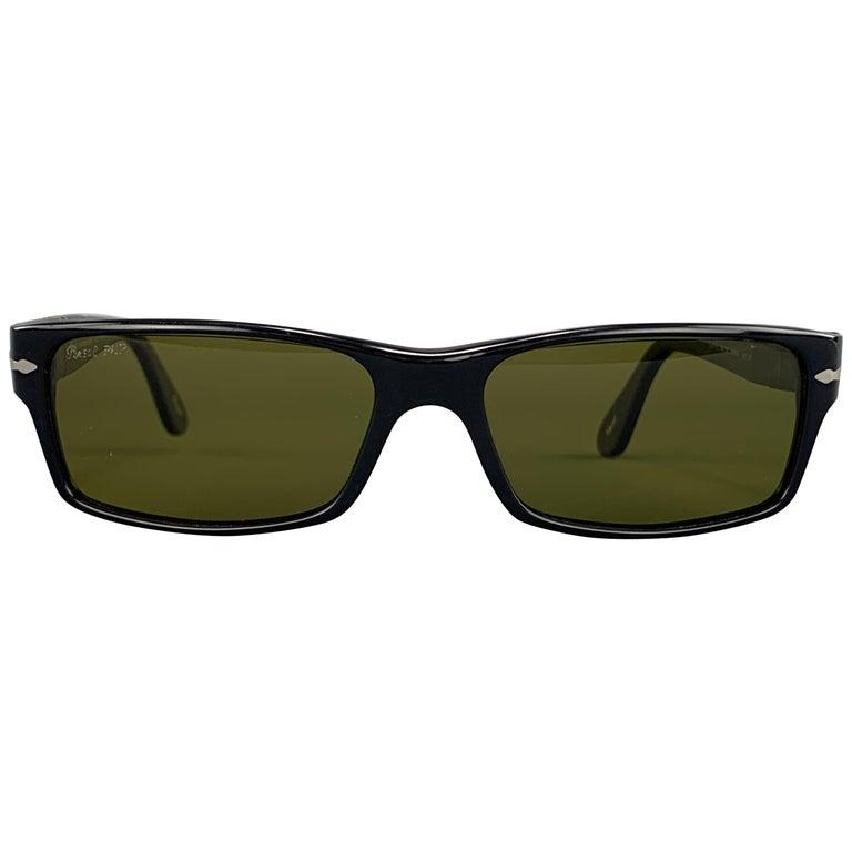 PERSOL Black Acetate Green Lens Recatngle Sunglasses For Sale